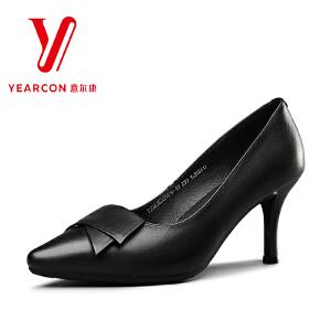 意尔康官方旗舰店女鞋细跟高跟鞋2017秋季新款真皮通勤黑色职业皮鞋女士单鞋