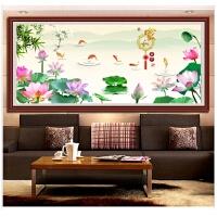钻石画满钻客厅大幅粘贴画十字绣家和富贵古典中国风荷花年年有余