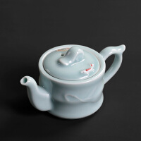 陶瓷茶壶日式泡茶器龙泉青瓷仿古功夫茶具家用泡茶壶锦鲤小金鱼