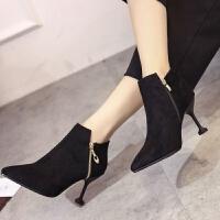 19秋冬季女鞋新款尖头马丁靴女韩版细跟绒面短靴女猫跟英伦风女鞋