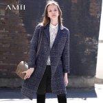 Amii极简chic羊毛双面呢2018秋季显瘦不规则格子外套.