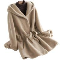 2018秋冬显瘦羊毛皮草外套中长款系带连帽休闲羊剪绒大衣