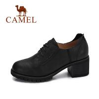 camel 骆驼女鞋 秋季新品通勤方跟系带英伦复古牛津鞋简约高跟单鞋