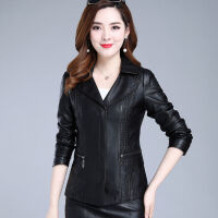 皮衣女短款2019韩版中年修身宽松型秋季女装PU女士大码皮外套女西装 黑色 8906 XL 85-105斤
