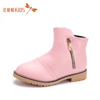 【1件2折后:49元】红蜻蜓童鞋冬款英伦风中筒皮面保暖舒适女童儿童马丁靴