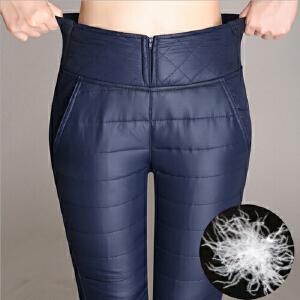 秋冬新款加厚高腰裤女式外穿显瘦小脚羽绒棉裤