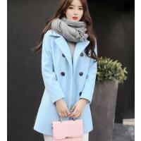外套女 中长款西服 新款韩版修身呢子大衣女装显瘦中长款加厚毛呢外套