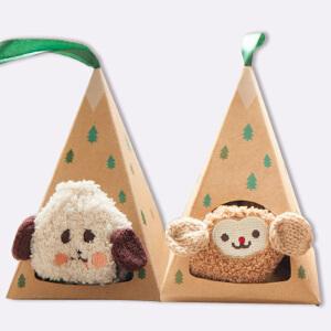 货到付款 Yinbeler【2双装】卡通动物防滑学步袜婴儿袜宝宝袜子珊瑚绒加绒保暖袜中筒袜童礼盒装