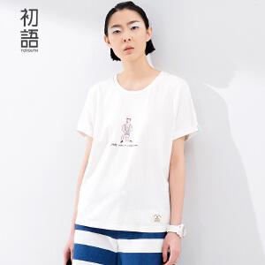 初语夏季新款 大力水手印花涂鸦字母宽松棉质T恤女8620*1054C