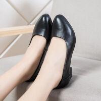单鞋女中跟女鞋粗跟皮鞋女士上班职业女鞋软牛皮黑色工作鞋女