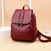 女式双肩背包新款韩版包盖式休闲软皮包包大容量时尚辣妈背包