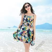 夏季连衣裙波西米亚短裙海边度假碎花沙滩裙大摆吊带短裙 藏青色