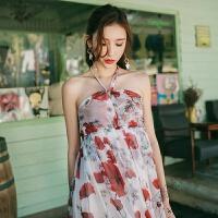 夏季长裙雪纺连衣裙 波西米亚沙滩裙海 边度假露背挂脖长裙女 花色