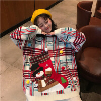 №【2019新款】中长款圣诞卡通加厚套头宽松很仙的毛衣女套头慵懒针织衫 均码