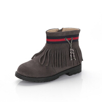 舞玛女童靴子公主短靴2017新款冬季小皮靴宝宝冬靴保暖童鞋韩版潮