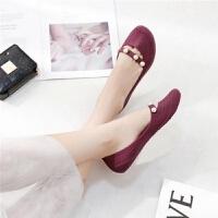 女士网状平底凉鞋夏新款包头百搭塑料珍珠浅口果冻鞋