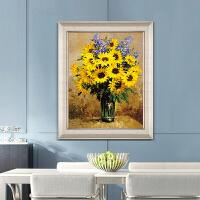 手绘向日葵厚油花卉油画玄关走廊过道餐厅书房美式定制挂装饰壁画 带框 100*150 单幅