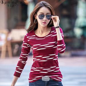 卡茗语 夏季纯棉短袖T恤女韩版体恤衫修身上衣简约半袖打底衫