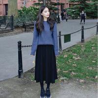 网红女装两件套装egg仙女宽松连衣裙秋冬季长裙温柔风毛衣配裙子 蓝色毛衣加黑色裙子 S