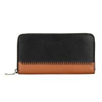 【9.9新】COACH女款棕色拼接黑色皮革长款钱包皮夹