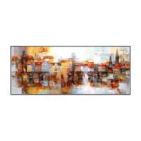 布拉格现代欧式样板房客厅装饰画巴洛克挂画油花城市风景油画壁画 布拉格老镇 152x62cm 白色外框 独立