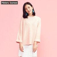 美特斯邦威毛衣女士2017春秋装新款纯色宽松圆领针织衫韩版学生