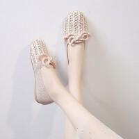 森系鞋子女2019新款瓢鞋秋百搭平底单鞋甜美可爱布鞋仙女鞋蝴蝶结
