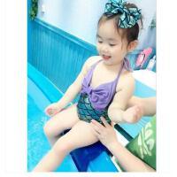 美人鱼泳衣女童连体婴儿宝宝泳装发带两件套韩国儿童泳衣女孩公主可礼品卡支付