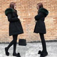 小个子羽绒服女中长款2018新款冬季韩版时尚收腰黑色大毛领外套潮 黑色