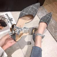女鞋2019新款春季学生百搭蝴蝶结中跟粗跟一字扣单鞋尖头高跟鞋潮 灰色 品质保证 35 标准码