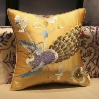 【人气】新中式抱枕靠垫套红木沙发刺绣花腰枕靠背垫含芯客厅抱枕靠枕套【】