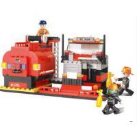 小鲁班消防系列 拼装积木大型消防车儿童益智创意玩具