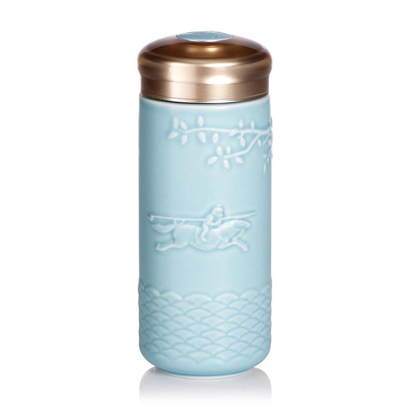 乾唐轩活瓷马上封侯随身杯双层350ml 陶瓷水杯子带盖