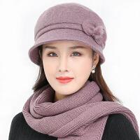 中老年人针织毛线帽女冬季保暖奶奶双层妈妈帽老人帽子女冬天围巾