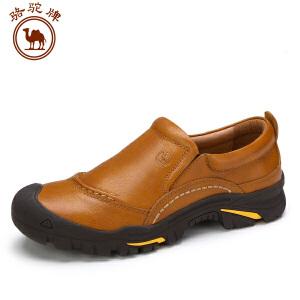 骆驼牌 男鞋新品复古舒适手工缝线鞋男士耐磨透气套脚休闲鞋