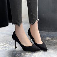 黑色高跟鞋女职业浅口细跟夏季单鞋女磨砂中跟尖头绒面性感ol职场夏季百搭鞋