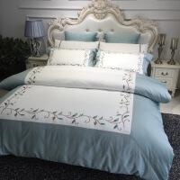 【人气】床上用品四件套全棉纯棉60支纯色被套夏季床单床笠款北欧风简约