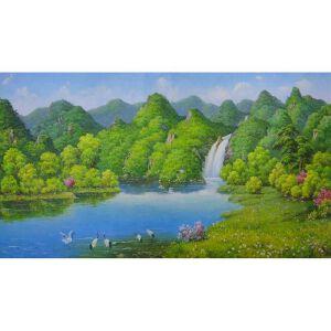 朝鲜油画 一级画家 车延民《鹤鸣溪谷》【大千艺术品】