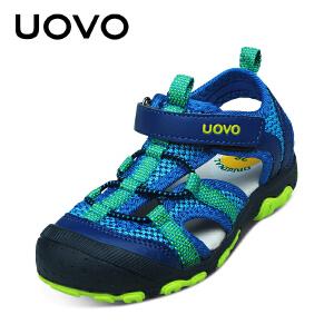【618大促-每满100减50】UOVO新款夏季儿童包头童鞋沙滩凉鞋 男 中大儿童鞋 密西西比