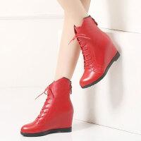 娜箐箐牛皮马丁靴欧美内增高坡跟真皮短靴系带女鞋女靴皮靴