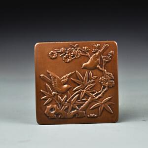 紫铜鸟禽图墨盒
