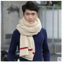围脖简约毛线围巾长款加厚保暖学生针织围脖男士围巾韩版情侣