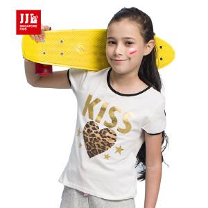 季季乐jjlkids童装夏季新款女童爱心短袖T恤字母大童休闲夏装上衣GXT61160