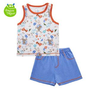 【加拿大童装】婴幼儿童套装t恤背心短裤2件套外穿纯棉男童装宝宝夏装衣服0-3岁
