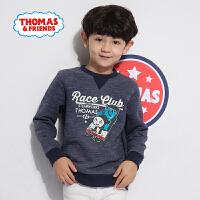 【一件5折】托马斯正版童装男童春装时尚印花抓绒卫衣内搭加绒上衣