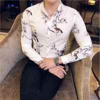 新款秋季男装长袖衬衫男士韩版休闲印花衬衣青年时尚潮流衬衫