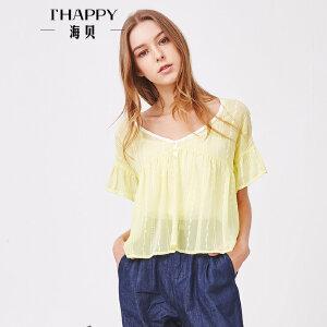 海贝夏季新款女装上衣甜美绣花雪纺圆领荷叶边短袖套头衬衫