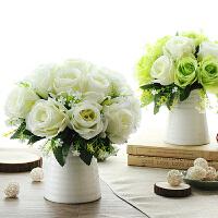 御目 摆件 仿真玫瑰束套装花艺家居假花装饰品绢花客厅餐桌盆栽摆件干花摆饰