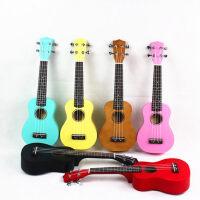 彩色尤克里里ukulele乌克丽丽 夏威夷四弦琴小吉他 儿童吉他 21寸 全椴木 亮光彩色吉他 送( 尤克里里琴套 +
