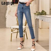 Lagogo2019春季新款裤子高腰紧身小脚裤牛仔裤女IANN432M64